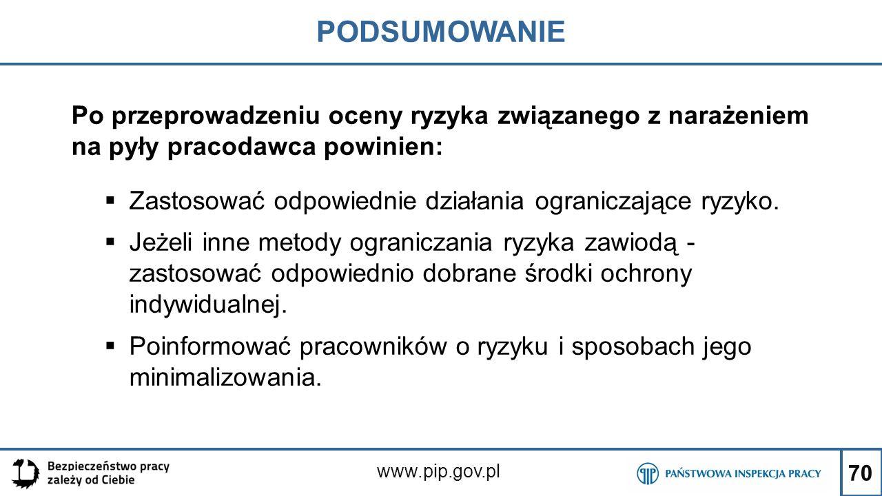 70 PODSUMOWANIE www.pip.gov.pl Po przeprowadzeniu oceny ryzyka związanego z narażeniem na pyły pracodawca powinien:  Zastosować odpowiednie działania