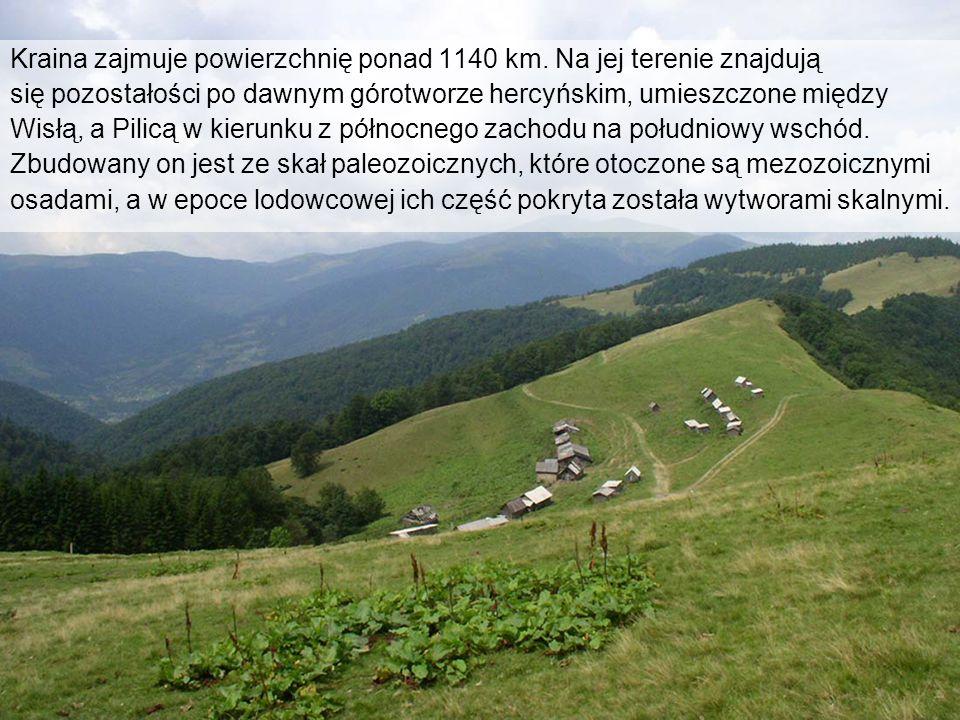 Kraina zajmuje powierzchnię ponad 1140 km. Na jej terenie znajdują się pozostałości po dawnym górotworze hercyńskim, umieszczone między Wisłą, a Pilic