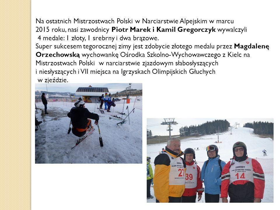 Na ostatnich Mistrzostwach Polski w Narciarstwie Alpejskim w marcu 2015 roku, nasi zawodnicy Piotr Marek i Kamil Gregorczyk wywalczyli 4 medale: 1 zło