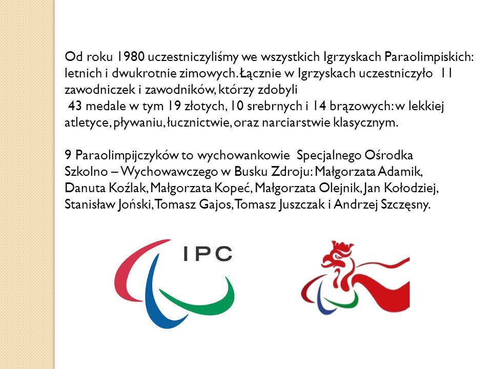 Od roku 1980 uczestniczyliśmy we wszystkich Igrzyskach Paraolimpiskich: letnich i dwukrotnie zimowych. Łącznie w Igrzyskach uczestniczyło 11 zawodnicz