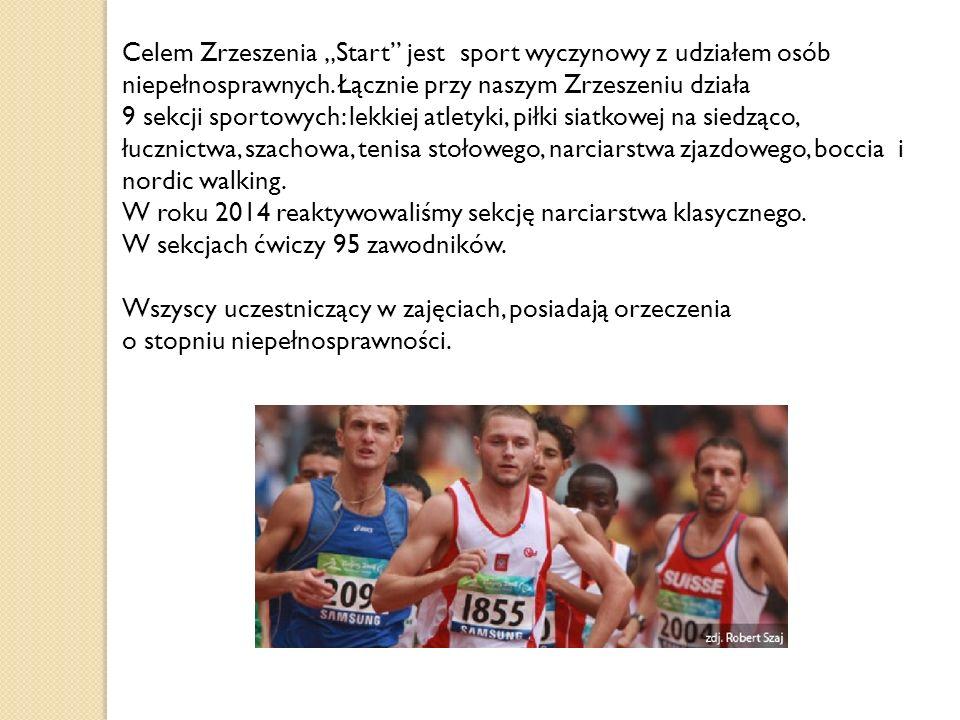 """Celem Zrzeszenia """"Start"""" jest sport wyczynowy z udziałem osób niepełnosprawnych. Łącznie przy naszym Zrzeszeniu działa 9 sekcji sportowych: lekkiej at"""