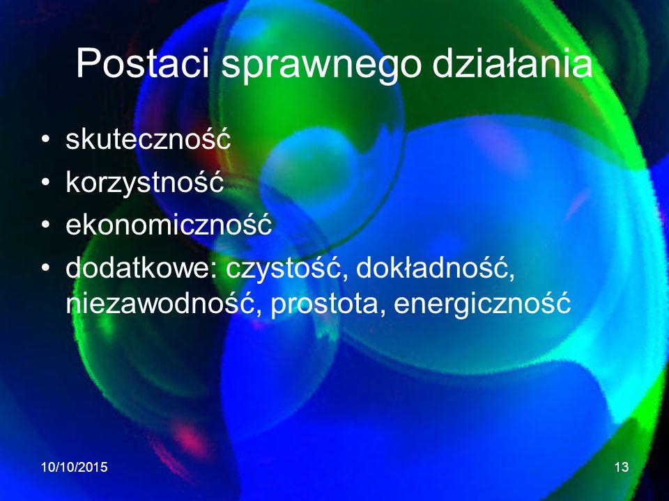 Postaci sprawnego działania skuteczność korzystność ekonomiczność dodatkowe: czystość, dokładność, niezawodność, prostota, energiczność 10/10/201513