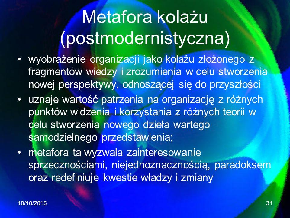 Metafora kolażu (postmodernistyczna) wyobrażenie organizacji jako kolażu złożonego z fragmentów wiedzy i zrozumienia w celu stworzenia nowej perspektywy, odnoszącej się do przyszłości uznaje wartość patrzenia na organizację z różnych punktów widzenia i korzystania z różnych teorii w celu stworzenia nowego dzieła wartego samodzielnego przedstawienia; metafora ta wyzwala zainteresowanie sprzecznościami, niejednoznacznością, paradoksem oraz redefiniuje kwestie władzy i zmiany 10/10/201531