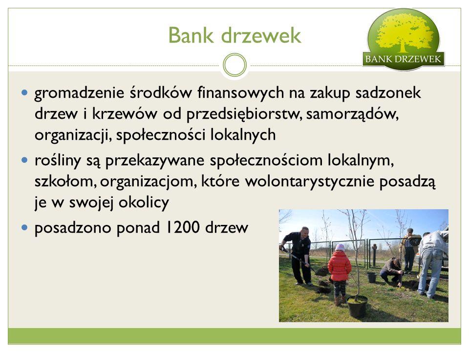 Bank drzewek gromadzenie środków finansowych na zakup sadzonek drzew i krzewów od przedsiębiorstw, samorządów, organizacji, społeczności lokalnych rośliny są przekazywane społecznościom lokalnym, szkołom, organizacjom, które wolontarystycznie posadzą je w swojej okolicy posadzono ponad 1200 drzew