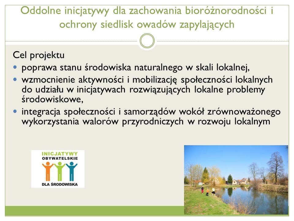 Przykładowe obywatelskie projekty Zielona ścieżka edukacyjna na Wierzowickim Starorzeczu Park odnowimy - piękne miejsce stworzymy Zagospodarowanie terenu zielonego wokół zalewu w Małomicach Owadzie oczko w Legnickim Polu Wzbogacenie siedlisk dla płazów i owadów przy stawach w Borowem