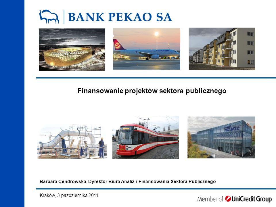 Finansowanie projektów sektora publicznego Barbara Cendrowska, Dyrektor Biura Analiz i Finansowania Sektora Publicznego Kraków, 3 pażdziernika 2011