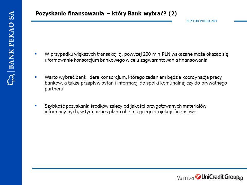 SEKTOR PUBLICZNY Pozyskanie finansowania – który Bank wybrać.