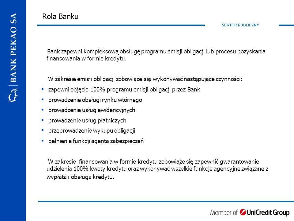SEKTOR PUBLICZNY Rola Banku Bank zapewni kompleksową obsługę programu emisji obligacji lub procesu pozyskania finansowania w formie kredytu.