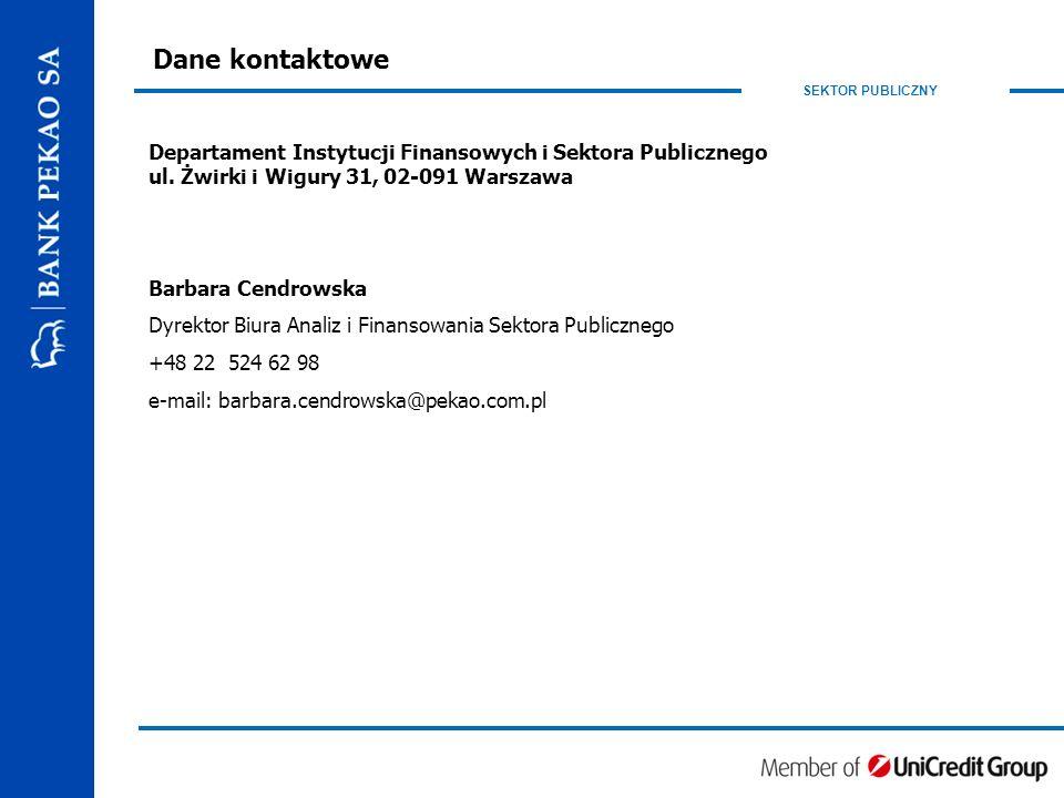 SEKTOR PUBLICZNY Dane kontaktowe Departament Instytucji Finansowych i Sektora Publicznego ul.