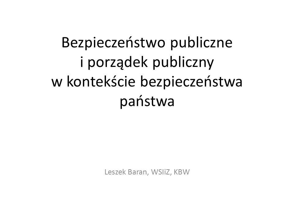 Bezpieczeństwo publiczne i porządek publiczny w kontekście bezpieczeństwa państwa Leszek Baran, WSIiZ, KBW