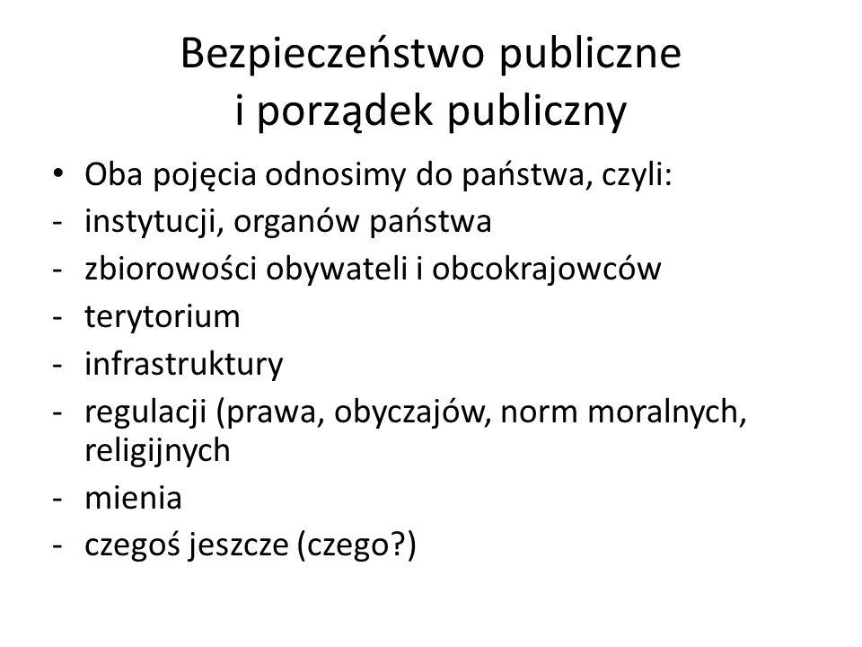 Bezpieczeństwo publiczne i porządek publiczny Oba pojęcia odnosimy do państwa, czyli: -instytucji, organów państwa -zbiorowości obywateli i obcokrajowców -terytorium -infrastruktury -regulacji (prawa, obyczajów, norm moralnych, religijnych -mienia -czegoś jeszcze (czego?)