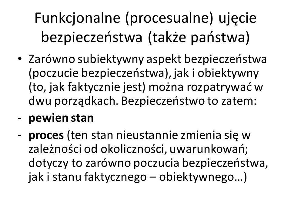 Funkcjonalne (procesualne) ujęcie bezpieczeństwa (także państwa) Zarówno subiektywny aspekt bezpieczeństwa (poczucie bezpieczeństwa), jak i obiektywny (to, jak faktycznie jest) można rozpatrywać w dwu porządkach.