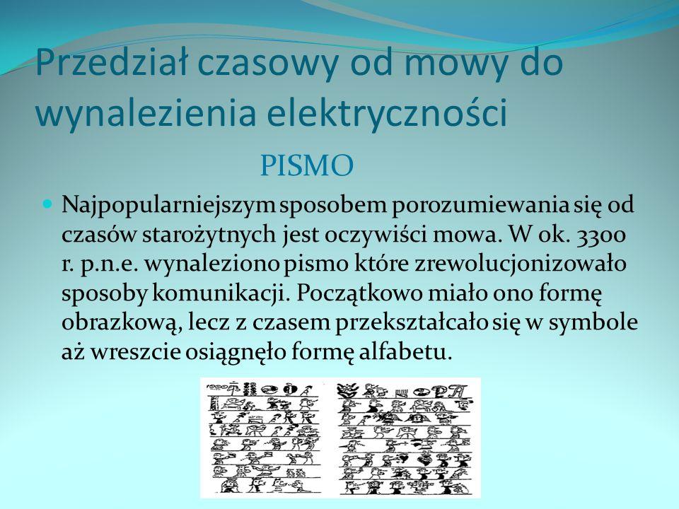 Przedział czasowy od mowy do wynalezienia elektryczności PISMO Najpopularniejszym sposobem porozumiewania się od czasów starożytnych jest oczywiści mo