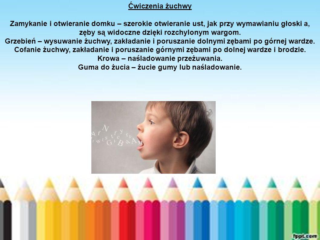 Ćwiczenia żuchwy Zamykanie i otwieranie domku – szerokie otwieranie ust, jak przy wymawianiu głoski a, zęby są widoczne dzięki rozchylonym wargom. Grz