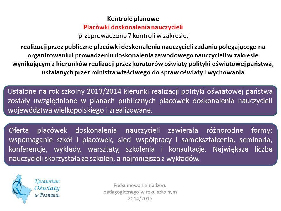 Kontrole planowe Placówki doskonalenia nauczycieli przeprowadzono 7 kontroli w zakresie: realizacji przez publiczne placówki doskonalenia nauczycieli