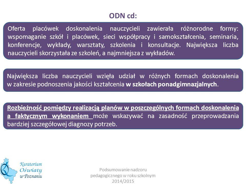 Podsumowanie nadzoru pedagogicznego w roku szkolnym 2014/2015 ODN cd: Największa liczba nauczycieli wzięła udział w różnych formach doskonalenia w zak