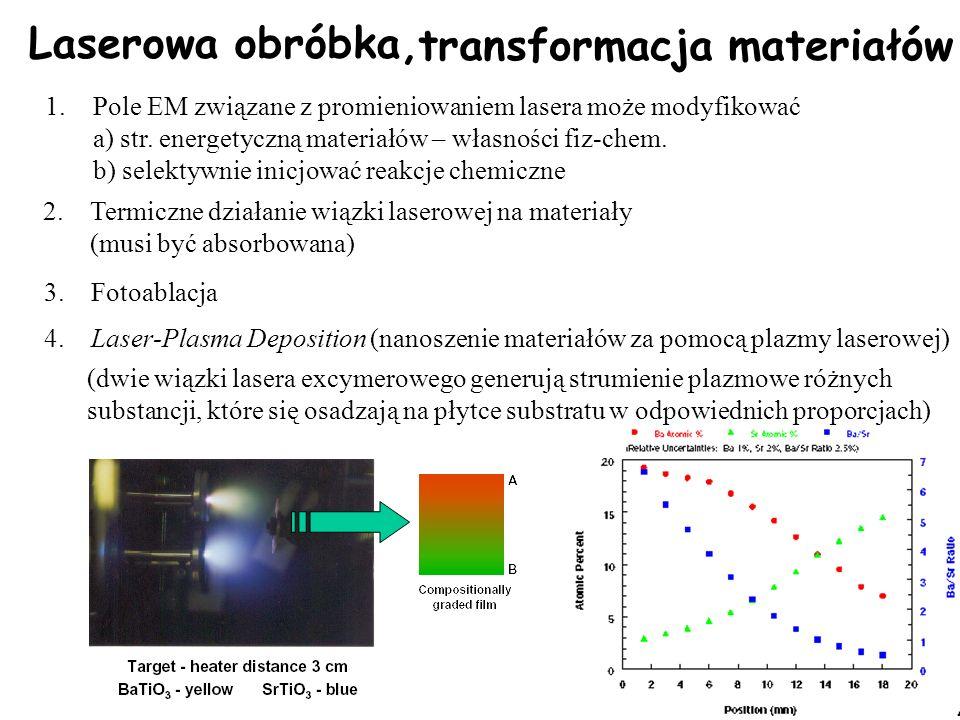 5 Laserowa obróbka, transformacja materiałów 1.Pole EM związane z promieniowaniem lasera może modyfikować a) str. energetyczną materiałów – własności
