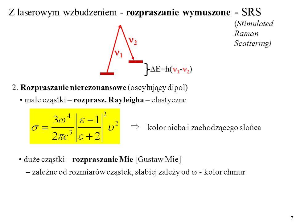 7 - SRS (Stimulated Raman Scattering) 1 2 Z laserowym wzbudzeniem - rozpraszanie wymuszone  E=h( 1 - 2 ) 2. Rozpraszanie nierezonansowe (oscylujący d