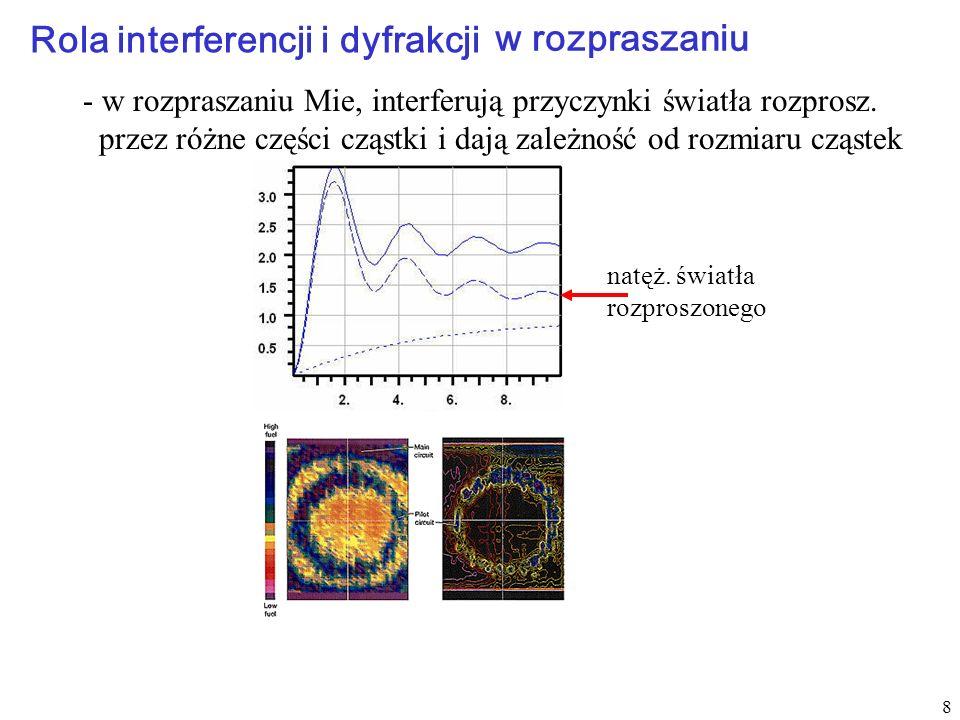 8 Rola interferencji i dyfrakcji w rozpraszaniu - w rozpraszaniu Mie, interferują przyczynki światła rozprosz. przez różne części cząstki i dają zależ
