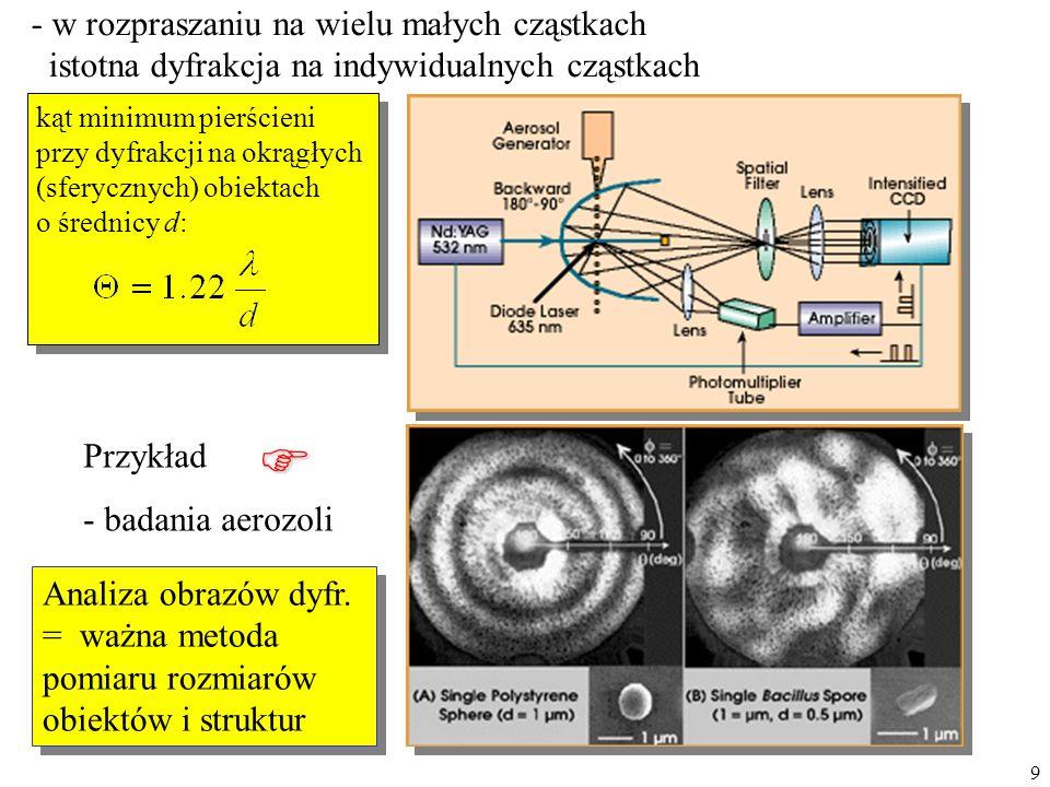 9 - w rozpraszaniu na wielu małych cząstkach istotna dyfrakcja na indywidualnych cząstkach Przykład - badania aerozoli kąt minimum pierścieni przy dyf