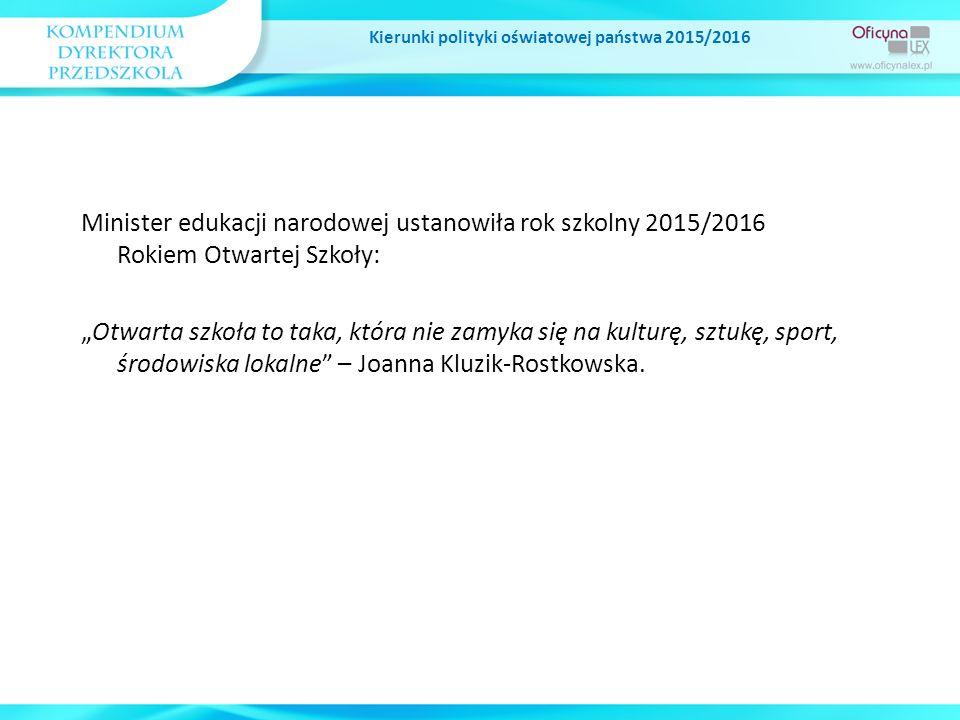 """Kierunki polityki oświatowej państwa 2015/2016 Rozwijanie kompetencji czytelniczych oraz upowszechnianie czytelnictwa wśród dzieci i młodzieży Wieloletni Program pod nazwą """"Narodowy Program Rozwoju Czytelnictwa na lata 2016-2020 Cele Programu: zapobieganie negatywnej tendencji niskiego poziomu czytelnictwa, podniesienie standardów infrastrukturalnych i zaktywizowanie bibliotek publicznych, szkolnych i pedagogicznych, które są ważnym źródłem książek dla czytelników, ułatwienie potencjalnym czytelnikom dostępu do książek – dzięki wzbogacaniu i urozmaicaniu księgozbiorów bibliotek publicznych, szkolnych i pedagogicznych."""