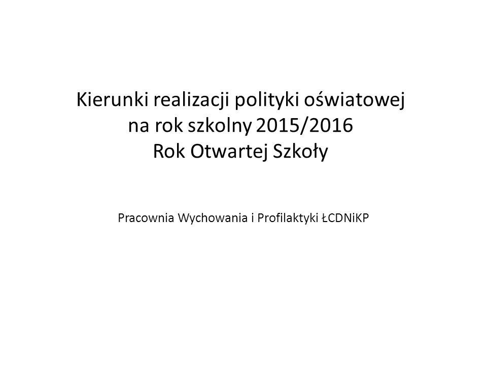 Kierunki realizacji polityki oświatowej na rok szkolny 2015/2016 Rok Otwartej Szkoły Pracownia Wychowania i Profilaktyki ŁCDNiKP