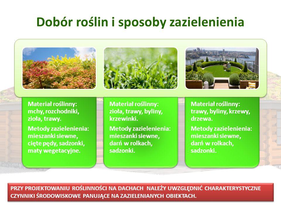 Dobór roślin i sposoby zazielenienia Materiał roślinny: mchy, rozchodniki, zioła, trawy. Metody zazielenienia: mieszanki siewne, cięte pędy, sadzonki,