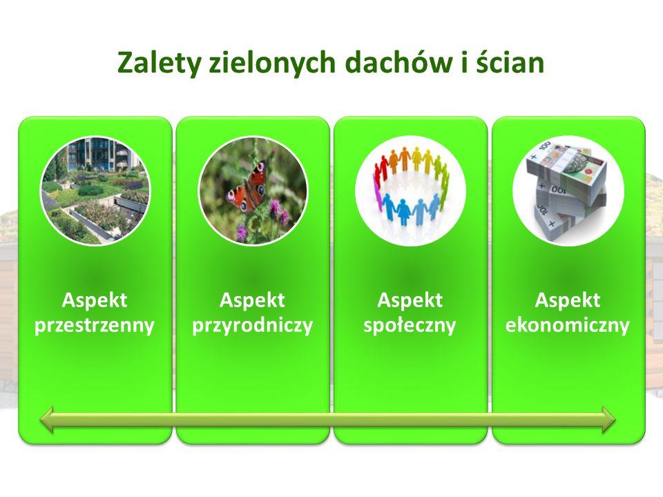 Zalety zielonych dachów i ścian Aspekt przestrzenny Aspekt przyrodniczy Aspekt społeczny Aspekt ekonomiczny