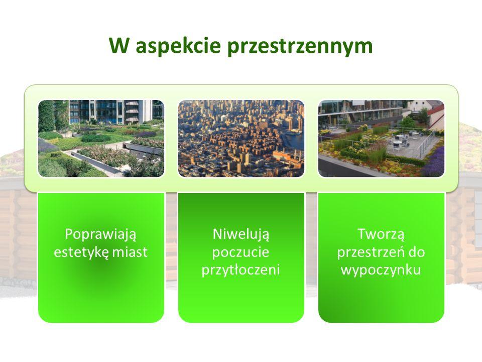 W aspekcie przestrzennym Poprawiają estetykę miast Niwelują poczucie przytłoczeni Tworzą przestrzeń do wypoczynku