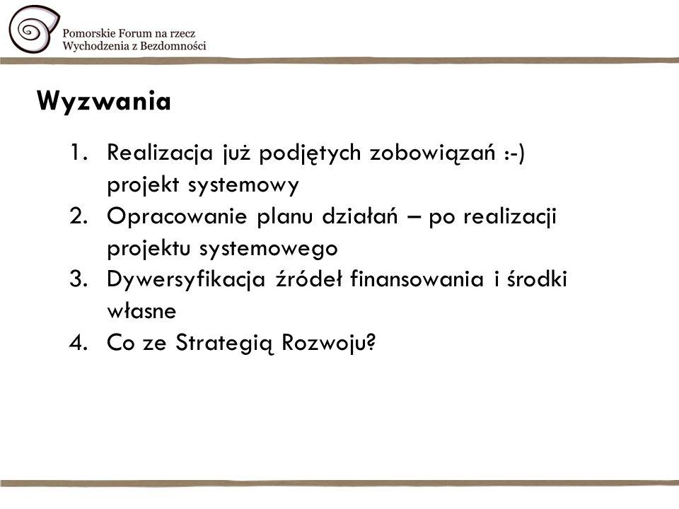 Wyzwania 1.Realizacja już podjętych zobowiązań :-) projekt systemowy 2.Opracowanie planu działań – po realizacji projektu systemowego 3.Dywersyfikacja źródeł finansowania i środki własne 4.Co ze Strategią Rozwoju