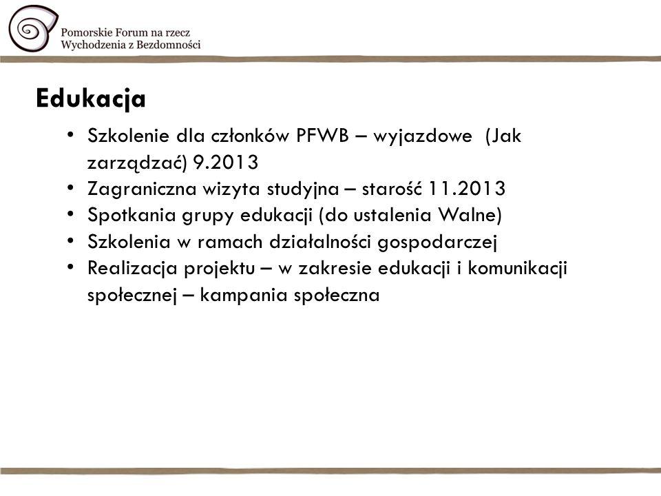 Komunikacja społeczna Obszar Komunikacji Społecznej Forum O bezdomności bez lęku 2012 – wydane w maju 2013 Informatory i plakaty 2012 - dystrybucja Kampania w zakresie 1% - styczeń – kwiecień 2013 Mini kampania społeczna o mądrym pomaganiu Platforma internetowa (styczeń - grudzień 2013) Spotkania grupy komunikacji (do ustalenia Walne) Newsletter Forum (raz na kwartał) Portale społecznościowe – Facebook