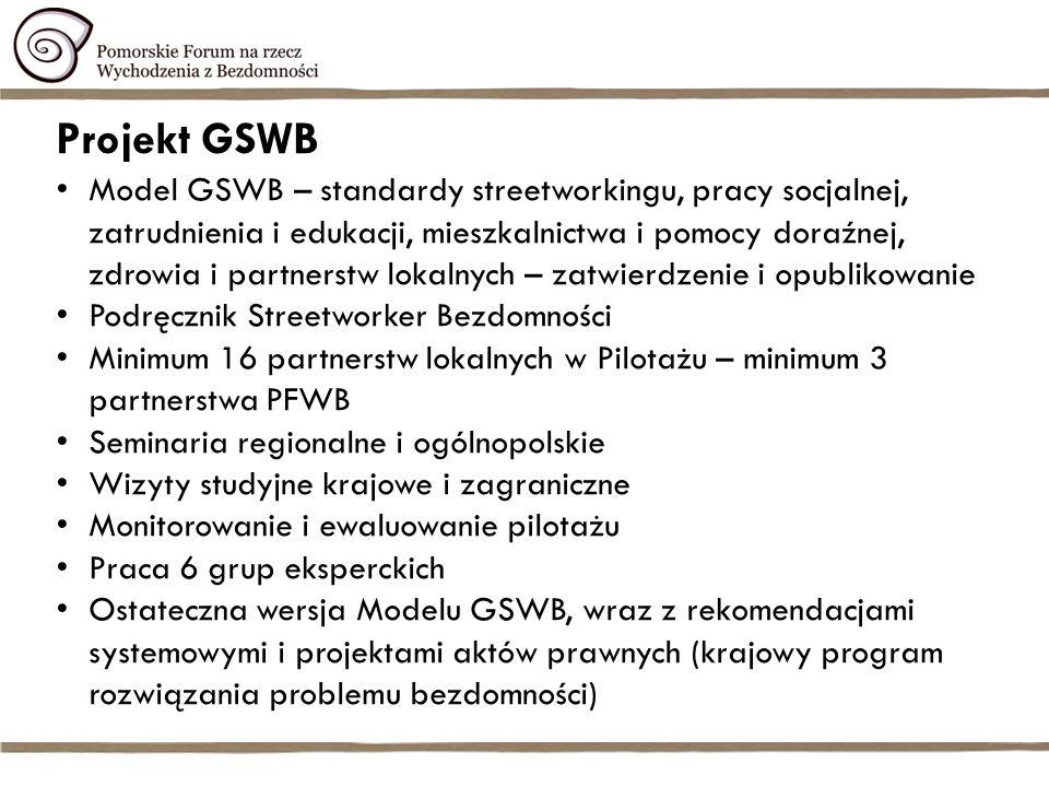 Projekt GSWB Model GSWB – standardy streetworkingu, pracy socjalnej, zatrudnienia i edukacji, mieszkalnictwa i pomocy doraźnej, zdrowia i partnerstw lokalnych – zatwierdzenie i opublikowanie Podręcznik Streetworker Bezdomności Minimum 16 partnerstw lokalnych w Pilotażu – minimum 3 partnerstwa PFWB Seminaria regionalne i ogólnopolskie Wizyty studyjne krajowe i zagraniczne Monitorowanie i ewaluowanie pilotażu Praca 6 grup eksperckich Ostateczna wersja Modelu GSWB, wraz z rekomendacjami systemowymi i projektami aktów prawnych (krajowy program rozwiązania problemu bezdomności)