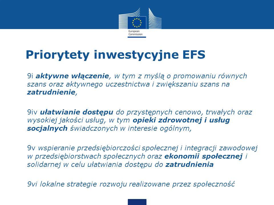Priorytety inwestycyjne EFS 9i aktywne włączenie, w tym z myślą o promowaniu równych szans oraz aktywnego uczestnictwa i zwiększaniu szans na zatrudni