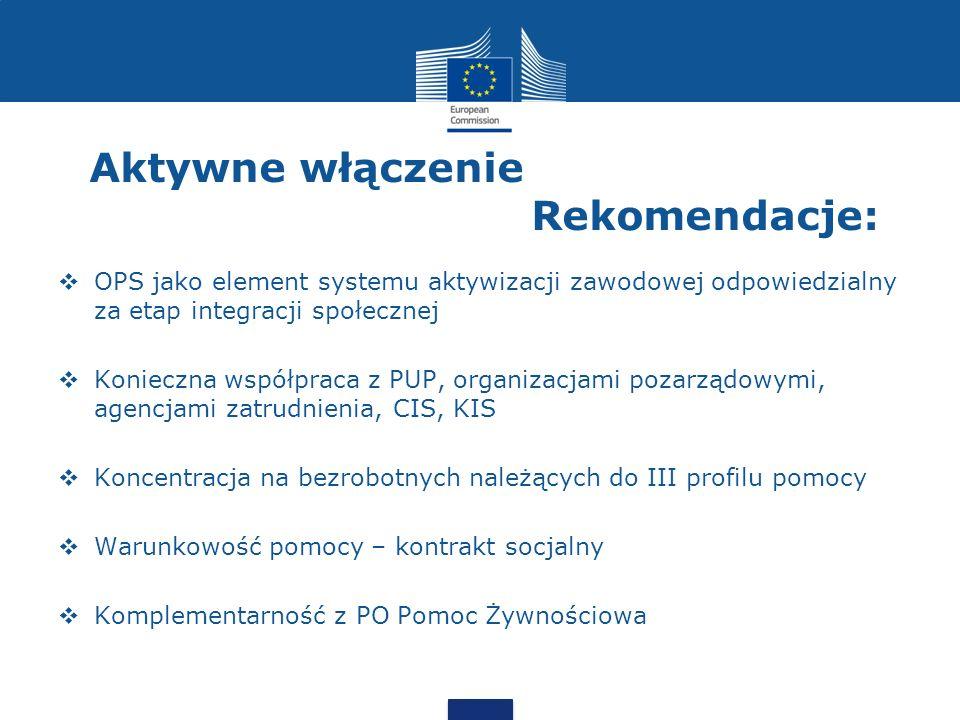 Aktywne włączenie Rekomendacje:  OPS jako element systemu aktywizacji zawodowej odpowiedzialny za etap integracji społecznej  Konieczna współpraca z