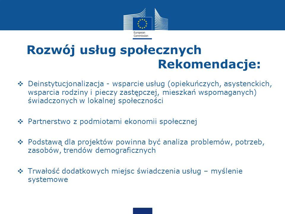 Rozwój usług społecznych Rekomendacje:  Deinstytucjonalizacja - wsparcie usług (opiekuńczych, asystenckich, wsparcia rodziny i pieczy zastępczej, mie