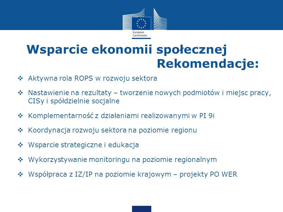 Wsparcie ekonomii społecznej Rekomendacje:  Stosowanie klauzul społecznych  Preferencje dla podmiotow ekonomii spolecznej przy opracowywaniu kryteriów dla KM  Tworzenie PESow w oparciu o środki funduszu pracy (TO8)