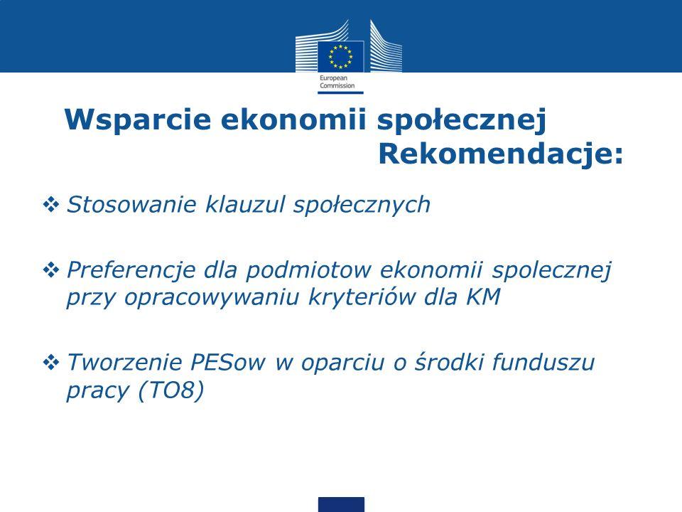 Wsparcie ekonomii społecznej Rekomendacje:  Stosowanie klauzul społecznych  Preferencje dla podmiotow ekonomii spolecznej przy opracowywaniu kryteri