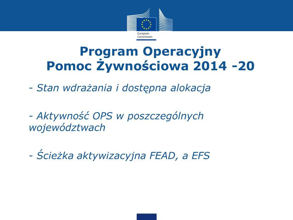 Program Operacyjny Pomoc Żywnościowa 2014 -20 - Stan wdrażania i dostępna alokacja - Aktywność OPS w poszczególnych województwach - Ścieżka aktywizacy