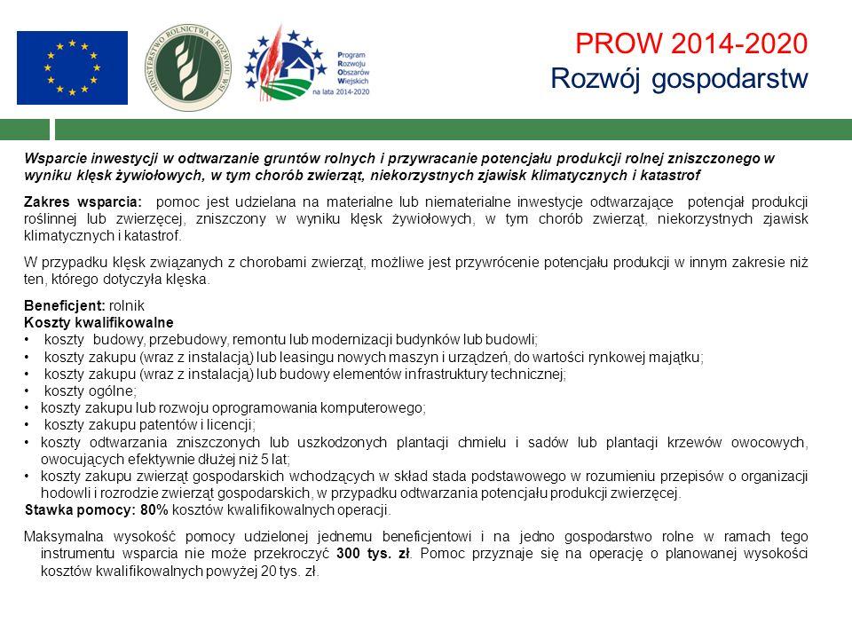 PROW 2014-2020 Rozwój gospodarstw Wsparcie inwestycji w odtwarzanie gruntów rolnych i przywracanie potencjału produkcji rolnej zniszczonego w wyniku k