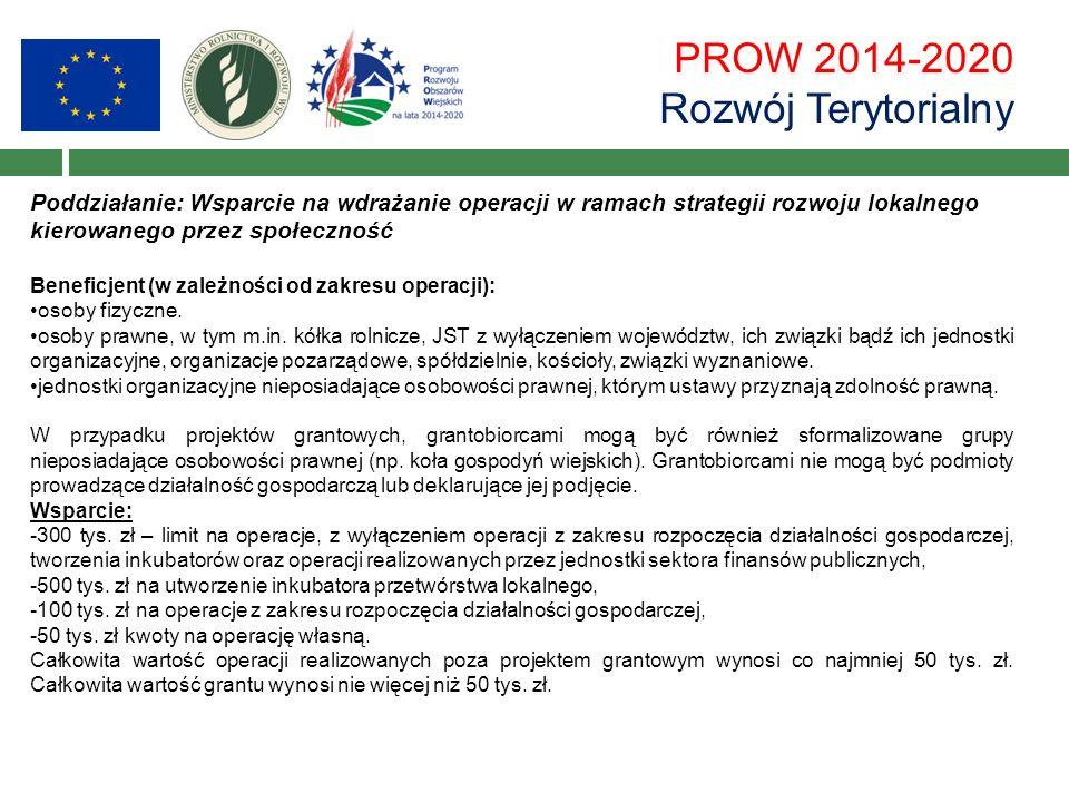 PROW 2014-2020 Rozwój Terytorialny Poddziałanie: Wsparcie na wdrażanie operacji w ramach strategii rozwoju lokalnego kierowanego przez społeczność Beneficjent (w zależności od zakresu operacji): osoby fizyczne.