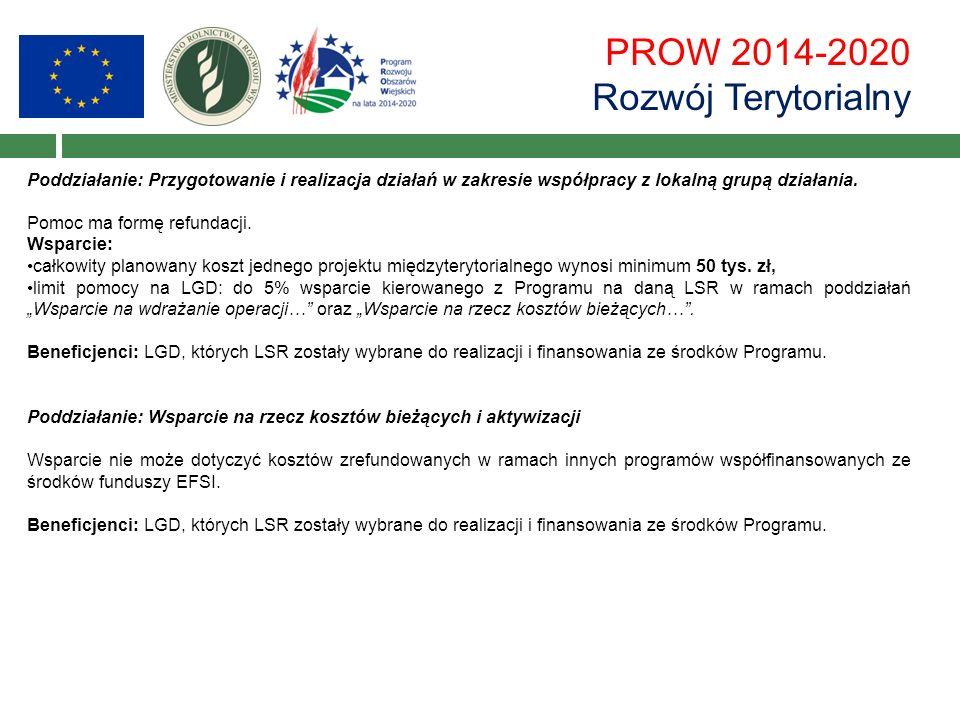 PROW 2014-2020 Rozwój Terytorialny Poddziałanie: Przygotowanie i realizacja działań w zakresie współpracy z lokalną grupą działania. Pomoc ma formę re