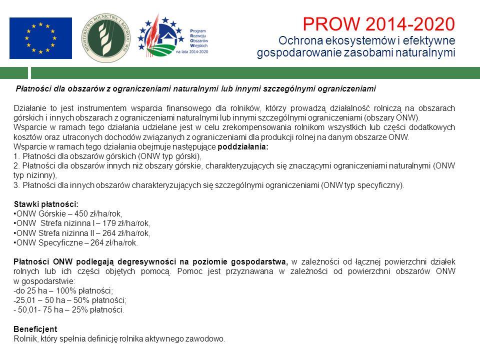 PROW 2014-2020 Ochrona ekosystemów i efektywne gospodarowanie zasobami naturalnymi Płatności dla obszarów z ograniczeniami naturalnymi lub innymi szcz