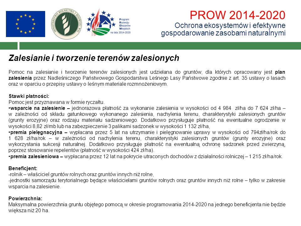 PROW 2014-2020 Ochrona ekosystemów i efektywne gospodarowanie zasobami naturalnymi Zalesianie i tworzenie terenów zalesionych Pomoc na zalesianie i tw