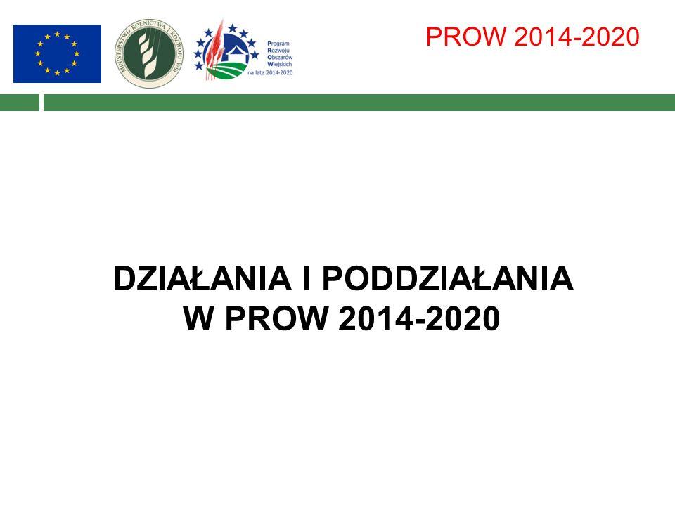 PROW 2014-2020 DZIAŁANIA I PODDZIAŁANIA W PROW 2014-2020