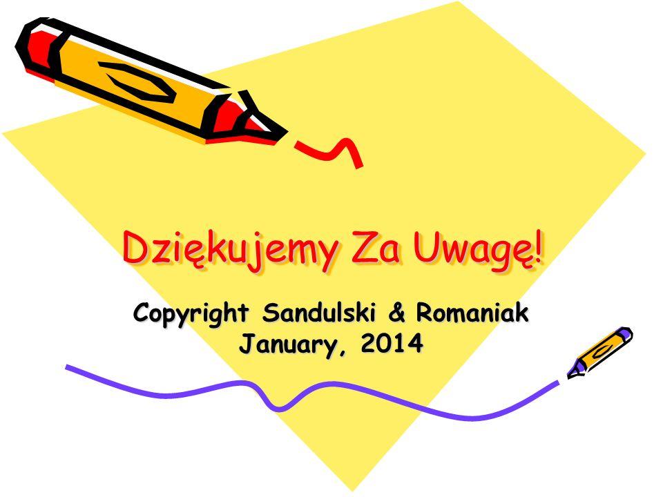 Dziękujemy Za Uwagę! Copyright Sandulski & Romaniak January, 2014