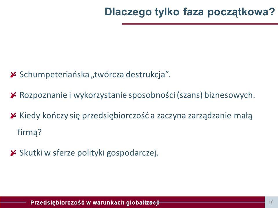 """Przedsiębiorczość w warunkach globalizacji 10 Dlaczego tylko faza początkowa? Schumpeteriańska """"twórcza destrukcja"""". Rozpoznanie i wykorzystanie sposo"""