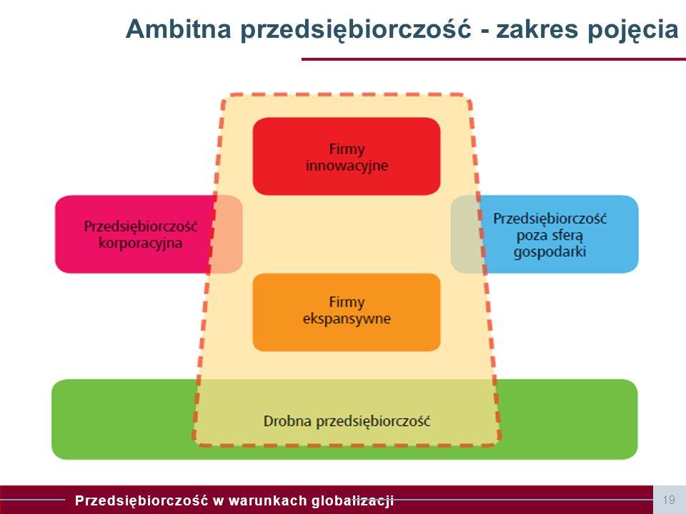 Przedsiębiorczość w warunkach globalizacji Ambitna przedsiębiorczość - zakres pojęcia 19