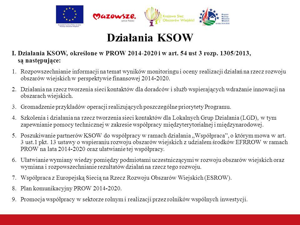 Działania KSOW I.Działania KSOW, określone w PROW 2014-2020 i w art.