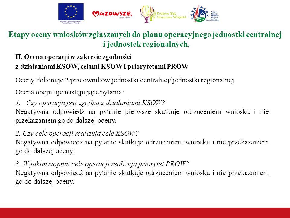 II. Ocena operacji w zakresie zgodności z działaniami KSOW, celami KSOW i priorytetami PROW Etapy oceny wniosków zgłaszanych do planu operacyjnego jed