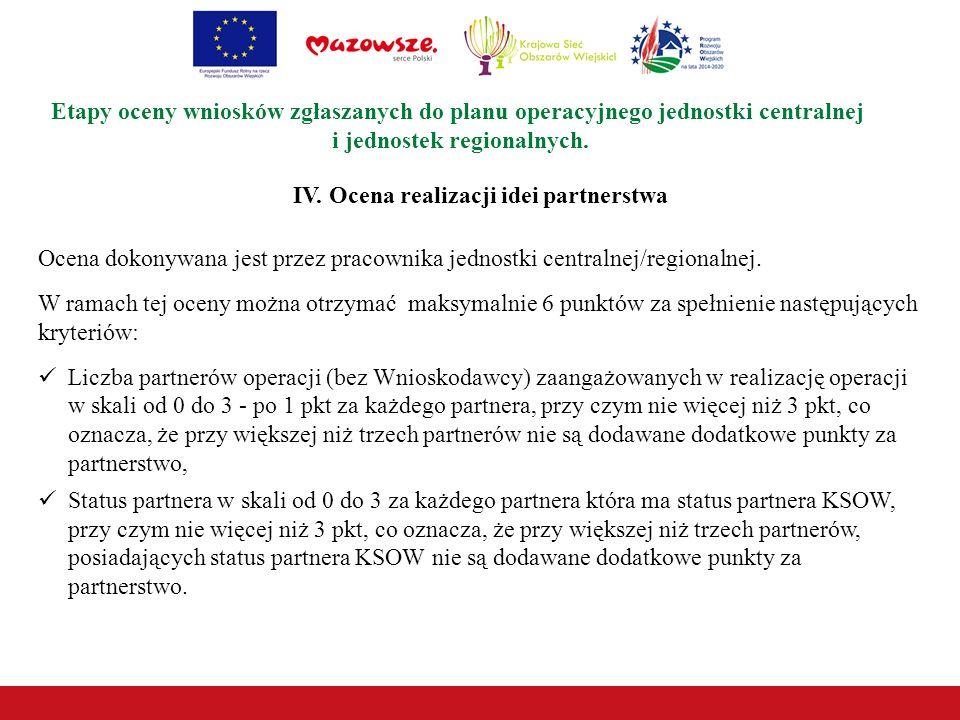 IV. Ocena realizacji idei partnerstwa Etapy oceny wniosków zgłaszanych do planu operacyjnego jednostki centralnej i jednostek regionalnych. Ocena doko